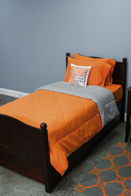 Orange and Light Gray 5 Piece Dorm Twin XL Reversible Bed In A Bag with Comforter, Flat Sheet, Fitted Sheet and 2 Pillowcases