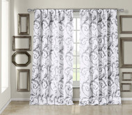 "Off-White Textured Sheer Window Curtain Panel: Gray Leaf Design, 54""W x 84""L"