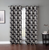 "Set of Two (2) Grommet Window Curtain Panels: Black and White Botanical Design, 76"" x 84"""