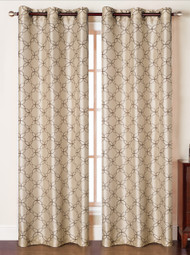 """Set of Two (2) Grommet Window Curtain Panels: Faux Silk, Taupe with Chocolate Embroidery  , 76"""" x 84"""""""