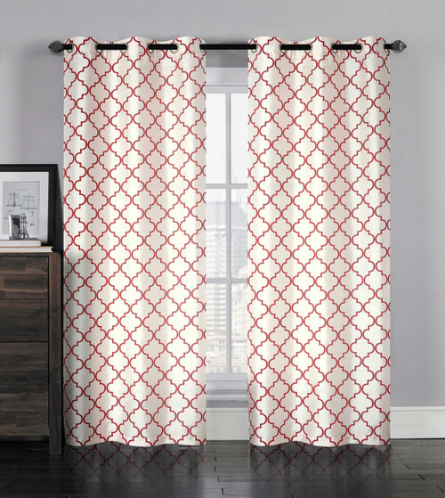 single (1) grommet window curtain panel: faux silk, ivory with