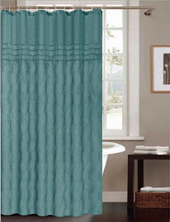 """Teal Fabric Shower Curtain: Embroidered Moroccan Trellis Design, 70"""" x 72"""""""