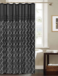 "Black Fabric Shower Curtain: Embroidered Silver Trellis Design, 70"" x 72"""