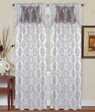 """Single (1) Window Curtain Panel with Attached Valance: Rod Pocket, Silver with Gray Medallion Design, 60""""W x 90""""L"""