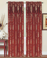 """Single (1) Window Curtain Panel with Attached Valance: Rod Pocket, Burgundy with Gold Floral Medallion Design, 60""""W x 90""""L"""