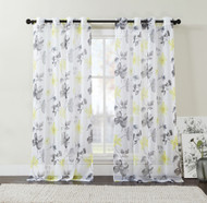 "Extra Long Two (2) Piece Sheer Grommet Window Curtain Panels: Yellow, Black and Gray, Floral Design, 108"" x 108"""