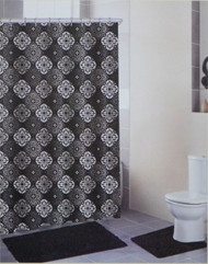 4 Piece Bath Set: Black and Gray, 2 Chenille Floor Mats, Fabric Shower Curtain, Roller Ball Shower Hooks