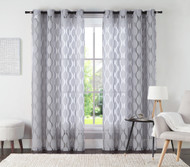 "One (1) Silver Gray Jacquard Grommet Window Curtain Panel: 54"" x 84"""
