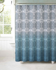 Fabric Shower Curtain with 12 Roller Ball Hooks: Teal Ombre Floral Medallion Moroccan Design