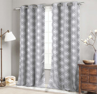 "Set of Two (2) Jacquard Window Curtain Panels: 76"" x 96"", Grommets,  Silver Gray Moroccan Tile Design"
