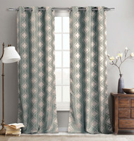 "Set of Two (2) Jacquard Window Curtain Panels: 76"" x 96"", Grommets, Teal Taupe Moroccan Tile Design"
