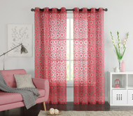 "One (1) Coral Clipped Sheer Grommet Window Curtain Panel: 55"" x 90"""