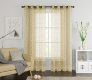 "One (1) Gold Clipped Sheer Grommet Window Curtain Panel: 55"" x 90"""