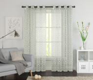 "One (1) Ivory Clipped Sheer Grommet Window Curtain Panel: 55"" x 90"""