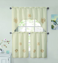 3 Piece Doily Floral Embroidered Kitchen Window Curtain Set: Ivory/Gold, 1 Valance and 2 Tiers