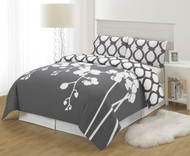 Gray and White 3 Piece Reversible Duvet Set: King Size, Floral and Chain Link Design