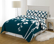 Dark Teal Blue and White 3 Piece Reversible Duvet Set: King Size, Floral and Chain Link Design