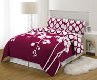 Burgundy and White 3 Piece Reversible Duvet Set: King Size, Floral and Chain Link Design