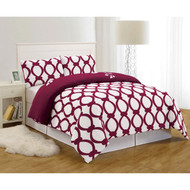 Burgundy and White 3 Piece Reversible Duvet Set: Full/Queen Size, Floral and Chain Link Design