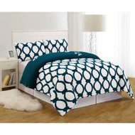 Dark Teal Blue and White 3 Piece Reversible Duvet Set: Full/Queen Size, Floral and Chain Link Design