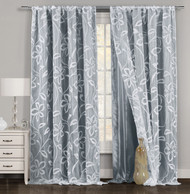 """One Piece (1) Gray and White Window Curtain Panel: Floral Boranical Design, Double Layer, 54""""W x 84""""L"""
