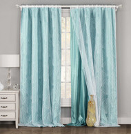 """One Piece (1) Teal Blue and White Window Curtain Panel: Large Leaf Design, Double Layer, 54""""W x 84""""L"""