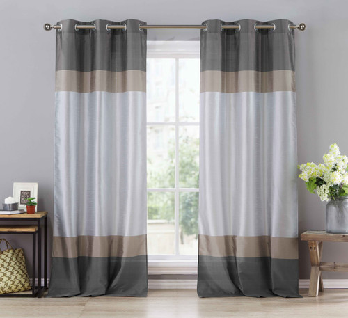 Two (2) Silver Gray and Taupe Window Curtain Panels: Faux Silk ...