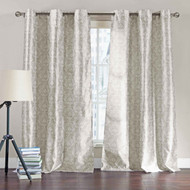 "Set of Two (2)  Light Taupe Window Curtain Panels: 76"" x 84"", Grommets, White Printed Design"
