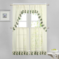 Beige 4 Piece Kitchen Window Curtain Set: Green and Ivory Macrame Border, 2 Swag and 2 Tier Panels