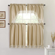 Taupe 4 Piece Kitchen Window Curtain Set: Macrame Border, 2 Swag and 2 Tier Panels