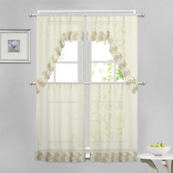 Beige 4 Piece Kitchen Window Curtain Set: Taupe and Ivory Macrame Border, 2 Swag and 2 Tier Panels
