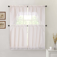 Ivory 4 Piece Kitchen Window Curtain Set: Macrame Border, 2 Swag and 2 Tier Panels