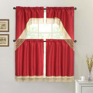 Red 4 Piece Kitchen Window Curtain Set: Gold Macrame Border, 2 Swag and 2 Tier Panels
