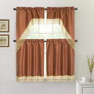 Rust 4 Piece Kitchen Window Curtain Set: Gold Macrame Border, 2 Swag and 2 Tier Panels