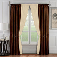 6 Pc. Window Curtain Set: Chocolate and Taupe, 2 Panels, 2 Sheers, 2 Tie Backs