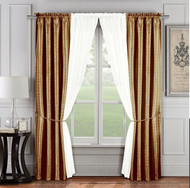 6 Pc. Window Curtain Set: Gold and Ivory, 2 Panels, 2 Sheers, 2 Tie Backs