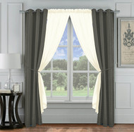 6 Pc. Jacquard Window Curtain Set: Charcoal Gray and Ivory, 2 Panels, 2 Sheers, 2 Tie Backs