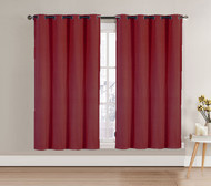 "Single (1) Blackout Window Curtain Panel: Burgundy, Silver Metal Grommets, 52""W x 63""L"