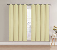 "Single (1) Blackout Window Curtain Panel: Beige, Silver Metal Grommets, 52""W x 63""L"