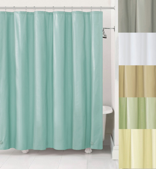 Fabric Shower Curtain Liner With Metal Grommets Blue Gray Ivory Sage Taupe And White