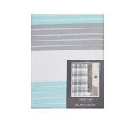 "100% Cotton Fabric Shower Curtain: Blue, Gray and White, Stripe Design, 70"" x 72"""