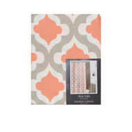 "100% Cotton Fabric Shower Curtain: Coral, Gray and White, Moroccan Tile Design, 70"" x 72"""