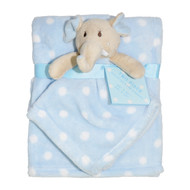 2 Piece Soft Plush Security Baby Blankets: Blue and White, with attached Elephant Pal