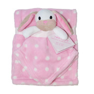 2 Piece Soft Plush Security Baby Blankets: Pink and White, with attached Bunny Pal
