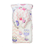 Reversible Baby Blanket with Travel U-Pillow: White and Pink Chevron and Owl Design