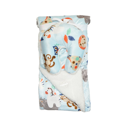 Animal Pillow Blanket : Reversible Baby Blanket with Travel U-Pillow: White and Blue with Animal Design - Bathroom And More