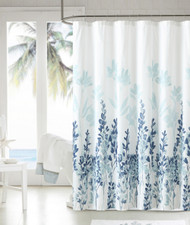 "Soft Microfiber Embossed Shower Curtain:  Teal, Blue and White Floral Design, 72"" x 72"""