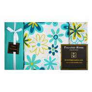 "6-Piece Bed Sheet Set: Turquoise and Green Flower Design, 16"" Pocket,  2 Extra Pillowcases"