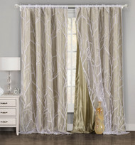 "One Piece (1) Taupe and White Window Curtain Panel: Tree Branch Design, Double Layer, 54""W x 84""L"
