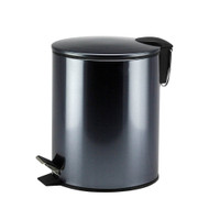Metallic Graphite Metal Pedal Trash Can/Bin: Round, Metal, 5 Liter, With Lid